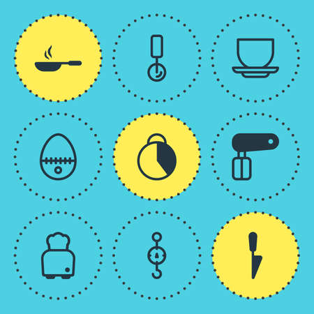 Vector illustration of 9 kitchenware icons. Editable set of scales, mug, stopwatch and other icon elements.
