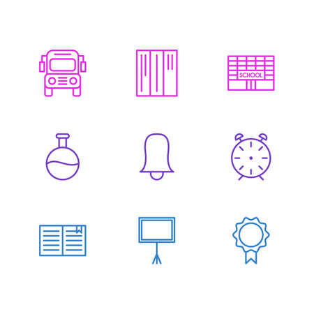 Vector illustration of 9 education icons line style. Editable set of bell, building, school bus and other icon elements.