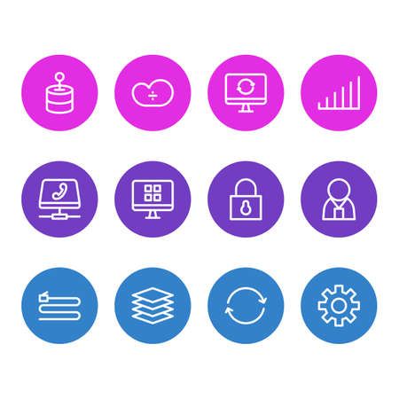 Vector illustration of 12 web icons line style. Editable set of sync, software, technology and other icon elements.