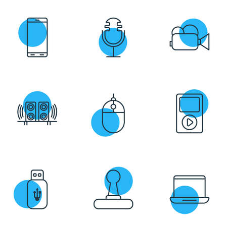 illustration of 9 accessory icons line style. Editable set of mp3 player, speakers, cellphone and other icon elements. 免版税图像