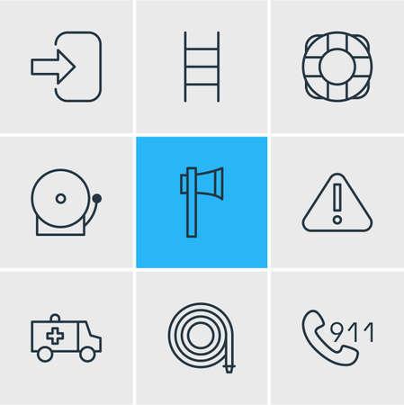 illustration of 9 extra icons line style. Editable set of hose, lifebuoy, axe and other icon elements. Stock Photo