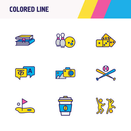 illustration of 9 activities icons colored line. Editable set of baseball, coffee, domino and other icon elements.