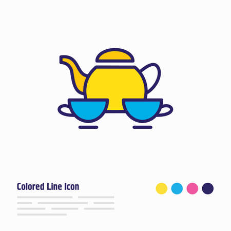 Vector illustration of tea set icon colored line. Beautiful lifestyle element also can be used as porcelain icon element. Ilustração