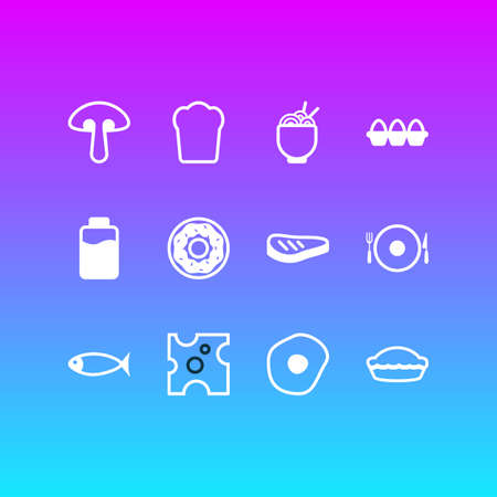 Vector illustration of 12 food icons line style. Editable set of spaghetti, fish, lactose and other icon elements.