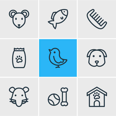 Vector illustration of 9 pet icons line style. Editable set of kennel, fish, pet toys and other icon elements.