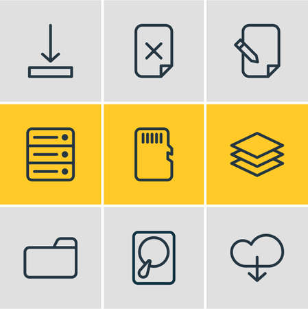Vector illustration of 9 memory icons line style. Editable set of download, hard drive disk, arrow down and other icon elements. Illustration