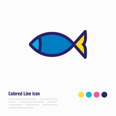 Vector illustration of fish icon colored line. Beautiful camp element also can be used as seafood icon element.