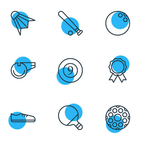 Vector illustration of 9 athletic icons line style. Editable set of whistle, game, golf and other icon elements.