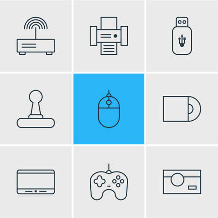 illustration of 9 hardware icons line style. Editable set of joystick, router, printer and other icon elements. Imagens