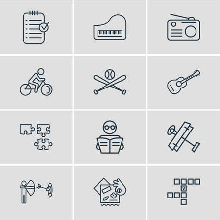illustration of 12 activities icons line style. Editable set of planning, guitar, piano and other icon elements.