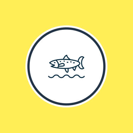 illustration of trout fish icon line. Beautiful marine element also can be used as codfish icon element. Stockfoto
