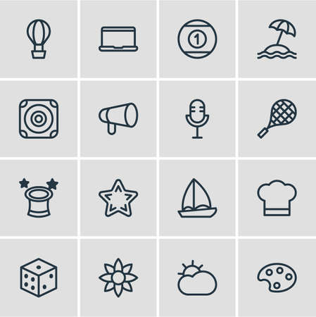 Vector illustration of 16 leisure icons line style. Editable set of sun, bullhorn, tennis and other icon elements. Vektoros illusztráció