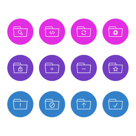 Vector illustration of 12 dossier icons line style. Editable set of search, shared, significant and other icon elements. Çizim