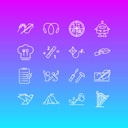 illustration of 16 activities icons line style. Editable set of carpentry, singing, pizza and other icon elements.