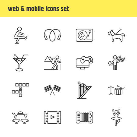 illustration of 16 hobby icons line style. Editable set of drums, hiking, video game and other icon elements. Stock Photo