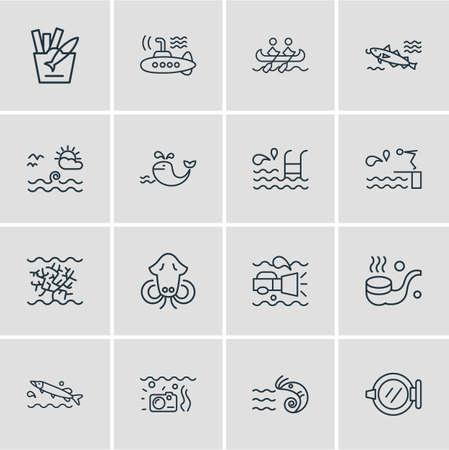 illustration of 16 marine icons line style. Editable set of submarine, prawn, sea landscape icon elements. Standard-Bild