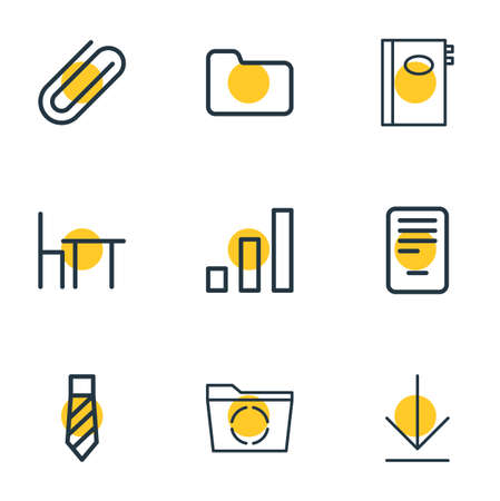 Vector illustration of 9 office icons line style. Editable set of clip, removing, directory and other icon elements. Vectores