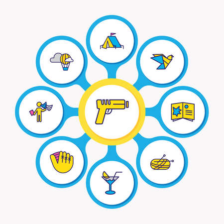 illustration of 9 lifestyle icons colored line. Editable set of gun, cocktail, acting and other icon elements.