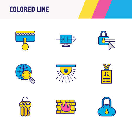 illustration of 9 protection icons colored line. Editable set of safe search, keychain, cloud data protection and other icon elements.