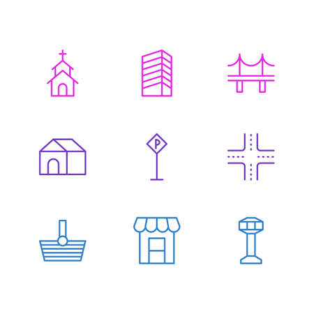 illustration of 9 public icons line style. Editable set of shopping, crossroad, airport and other icon elements. Banque d'images