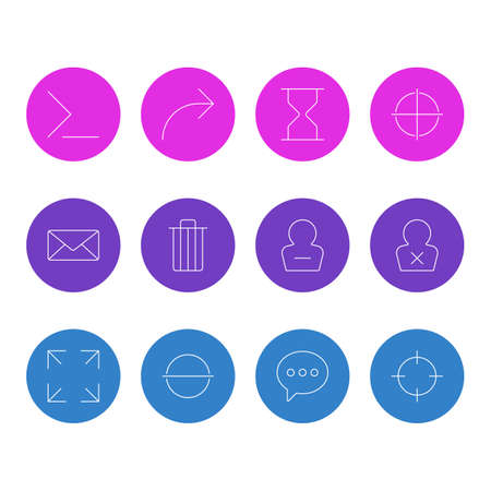 illustration of 12 user icons line style. Editable set of trash, delete account, command line icon elements.