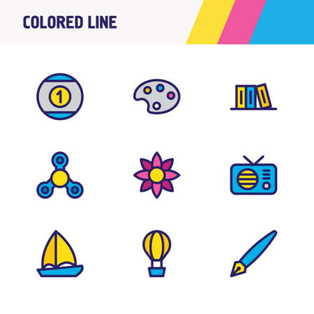 illustration of 9 joy icons colored line. Editable set of palette, boat, air balloon and other icon elements.