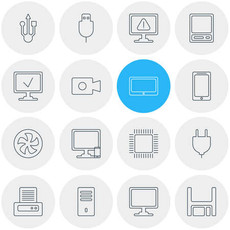 illustration of 16 laptop icons line style. Editable set of phone with PC, mobile phone, usb cable and other icon elements.