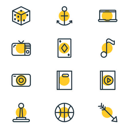 Vector illustration of 12 leisure icons line style. Editable set of book, tv, playing card and other icon elements. Ilustração