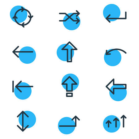 illustration of 12 direction icons line style. Editable set of pointing, upwards, up-down and other icon elements.
