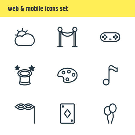 illustration of 9 leisure icons line style. Editable set of barrier, game controller, wizard and other icon elements.