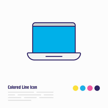 illustration of laptop icon colored line. Beautiful computer element also can be used as portable computer icon element.