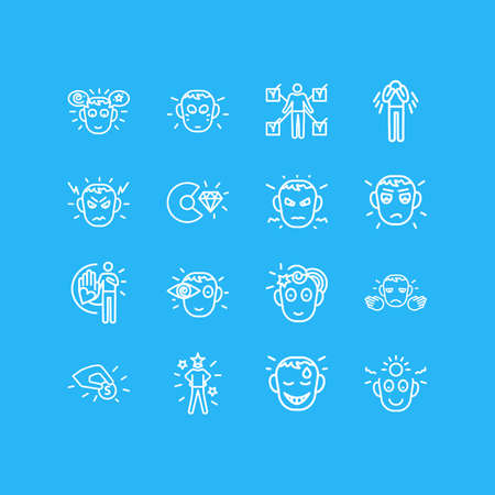 Vector illustration of 16 emotions icons line style. Editable set of imagination, skills, think positive and other icon elements.