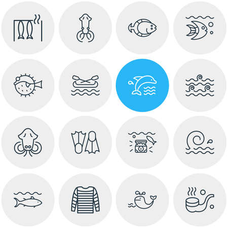 Vector illustration of 16 naval icons line style. Editable set of tuna, smoking pipe, flippers and other icon elements.