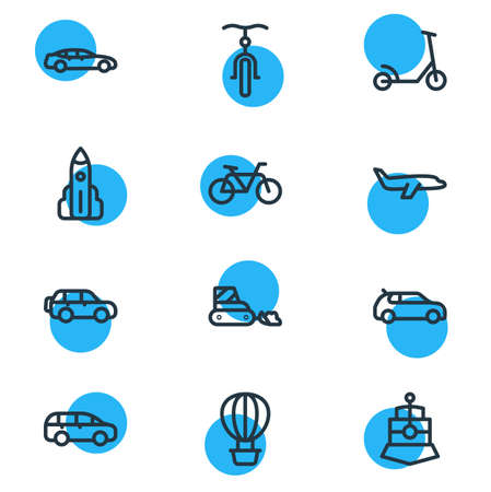 Vector illustration of 12 transport icons line style. Editable set of medium car, bicycle, air balloon and other icon elements. Çizim