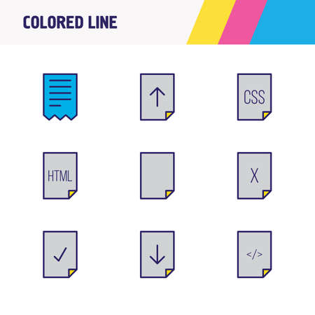 Vector illustration of 9 file icons colored line. Editable set of corrupted file, delete file, download and other icon elements. Illustration