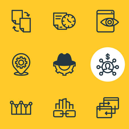 Vector illustration of 9 advertisement icons line style. Editable set of link building, longtime contract, adwords campaign and other icon elements.