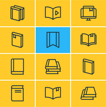 illustration of 12 education icons line style. Editable set of library, book reading, bookmark and other icon elements.