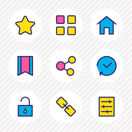 illustration of 9 annex icons colored line. Editable set of thumbnails, link, unlock and other icon elements. 版權商用圖片