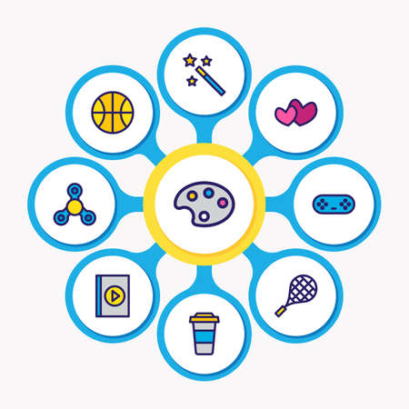 illustration of 9 entertainment icons colored line. Editable set of spinner, game controller, palette and other icon elements. Stockfoto