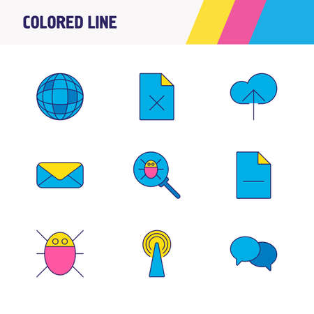 illustration of 9 web icons colored line. Editable set of delete file, chat, cloud upload and other icon elements.