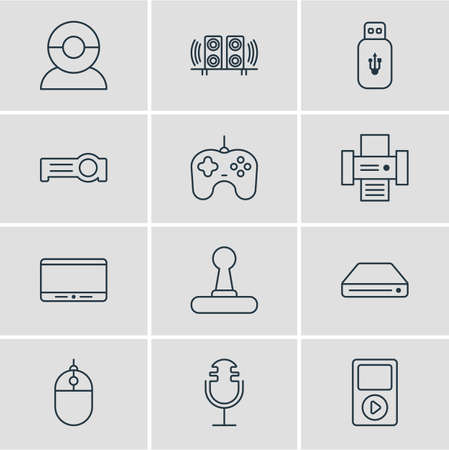 Vector illustration of 12 technology icons line style. Editable set of flash drive, mp3 player, gamepad and other icon elements.