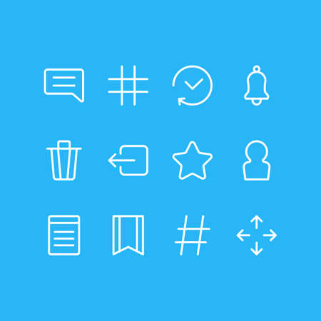 illustration of 12 app icons line style. Editable set of move, sign out, trash can and other icon elements. 版權商用圖片