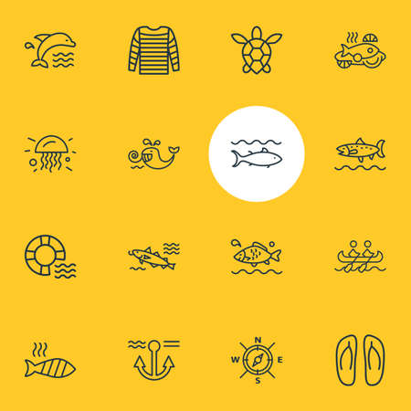 Vector illustration of 16 nautical icons line style. Editable set of grilled fish, aquatic, dolphin and other icon elements.