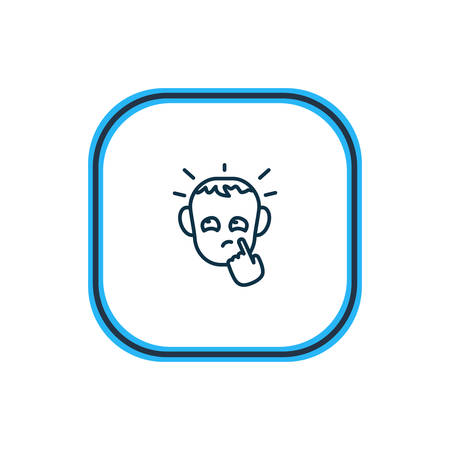 Vector illustration of thoughtful icon line. Beautiful emotions element also can be used as pensive icon element.