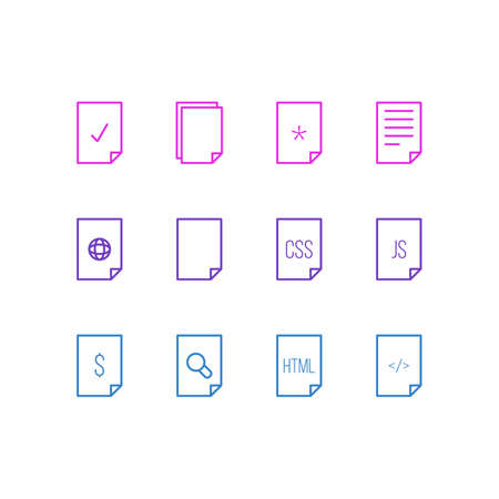 illustration of 12 paper icons line style. Editable set of empty, code, web and other icon elements. Stok Fotoğraf