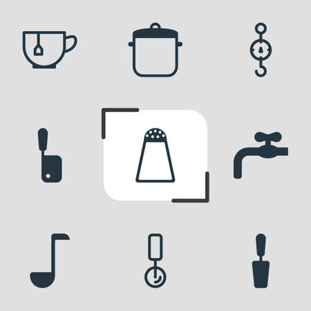 Vector illustration of 9 restaurant icons. Editable set of salt cellar, turner, scales and other icon elements.