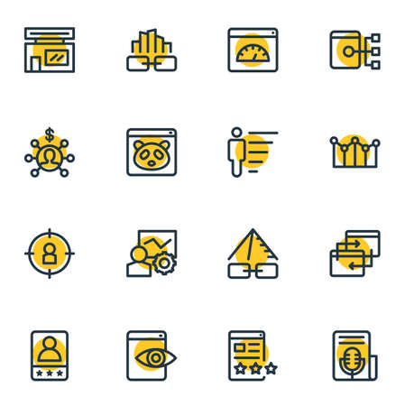 Vector illustration of 16 marketing icons line style. Editable set of page speed, affiliate marketing, career and other icon elements.
