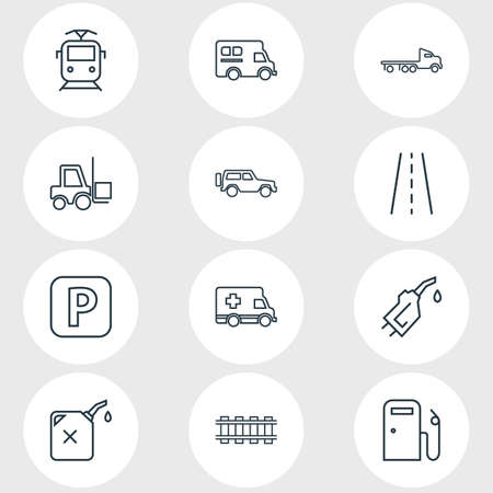 illustration of 12 transport icons line style. Editable set of road, gas station, flatbed truck and other icon elements. 免版税图像
