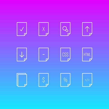 Vector illustration of 12 file icons line style. Editable set of contract, download, magnifier and other icon elements.