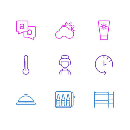 illustration of 9 tourism icons line style. Editable set of minibar, sunscreen, reception and other icon elements. Stockfoto